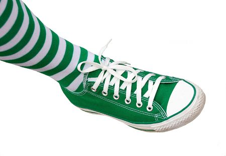 green sneakers and matching green socks for st patricks day