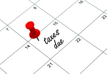 reminder for taxes being due on april 15th Stock Photo