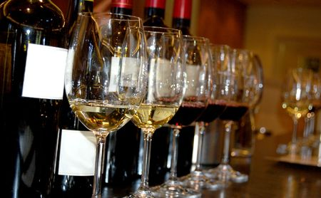 Wine tasting at a winery Stock Photo
