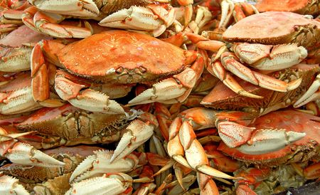 crabs on sale at a local market in san francisco Stock Photo