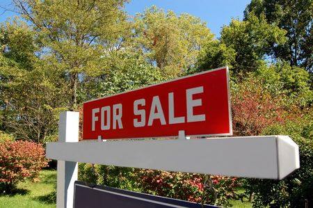 housing sales: Real estate for sale sign Stock Photo