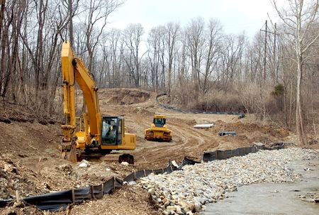 housing lot: Construction of a new residential development in a wooded area