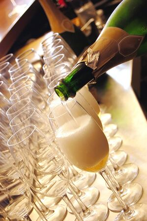 champagne being poured at a wedding reception Stock Photo
