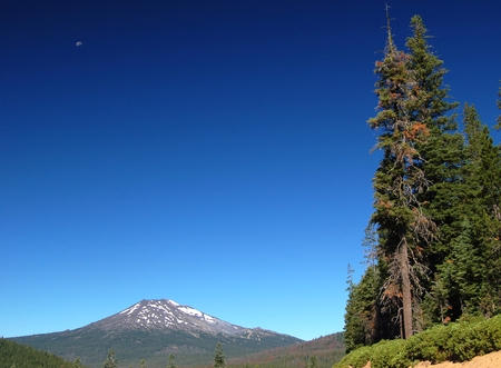 холостяк: The moon over Mount Bachelor in Oregon