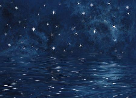 Illustration of stars reflecting on the ocean