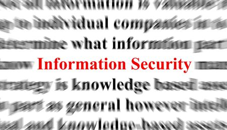 encode: Blurred text with the focus on the words Information Security Stock Photo