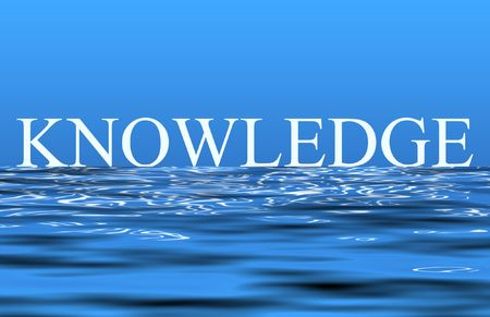 word: An illustration of the word knowledge reflecting on the water