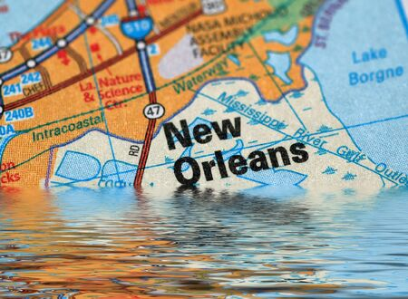 louisiana state: Map of New Orleans with a flood illustration Stock Photo