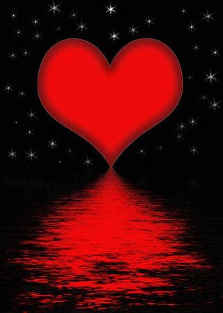 soul mate: Heart rippling on the water Stock Photo