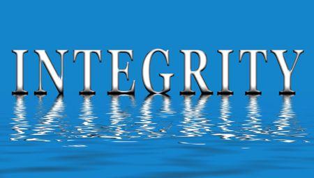 integridad: Un ejemplo de la palabra integridad flotando en el agua