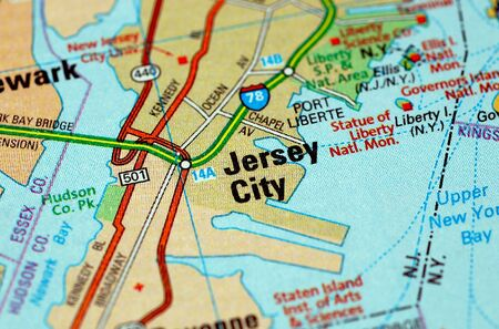 centered: Map centered on the city of Jersey City. Shallow depth of field Stock Photo