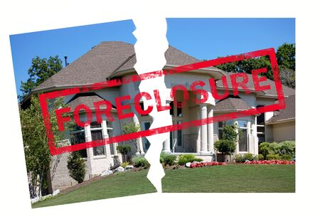 realty residence: Foreclosure stamp on a home torn in half Stock Photo