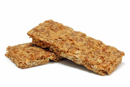 roughage: Granola bars isolated on a white background