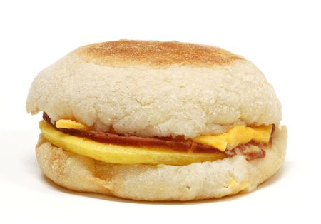 Healthy egg white sandwich on an english muffin with canadian bacon and low fat cheese
