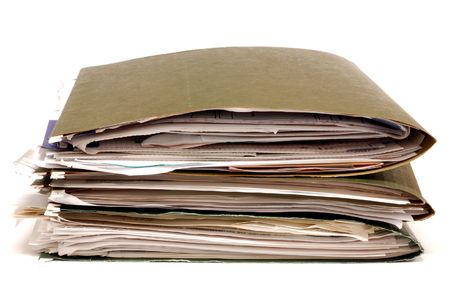 Files folders stacked on a white background Stock Photo - 3848465