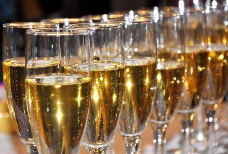 Mousserende champagne feest op nieuw jaar Eve Stockfoto