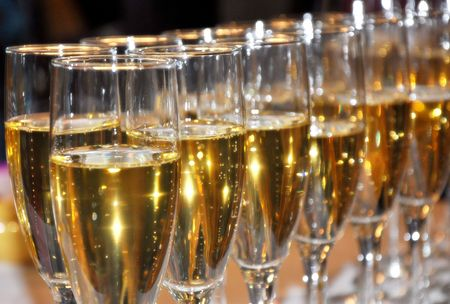 Sparkling champagne celebration on New Years Eve