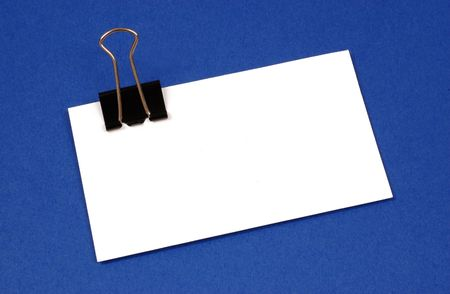 Blank business card with clip. Lots of room to add text