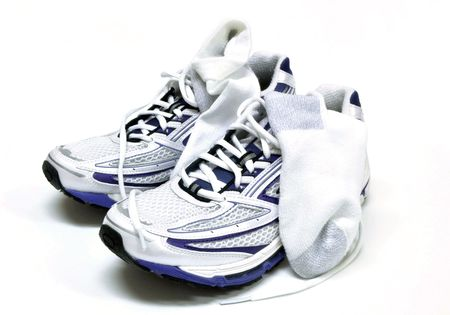 athletic wear: Womens running shoes and socks Stock Photo