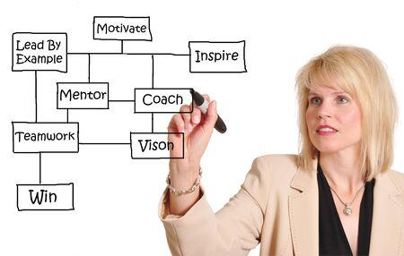 Attractive businesswoman diagramming a business success flow chart