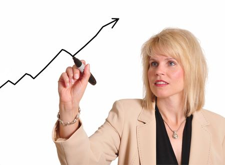 Female executive drawing trend line upward Stock Photo - 5266468