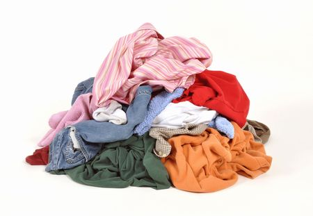 messy clothes: Pile of dirty clothes for the wash