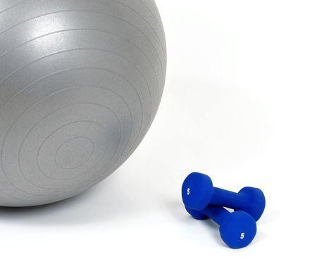 dumb bells: Fitness ball and dumb bells