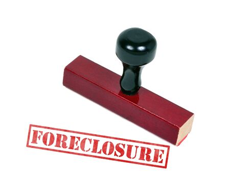 Rubber stamp with the word foreclosure Stock Photo