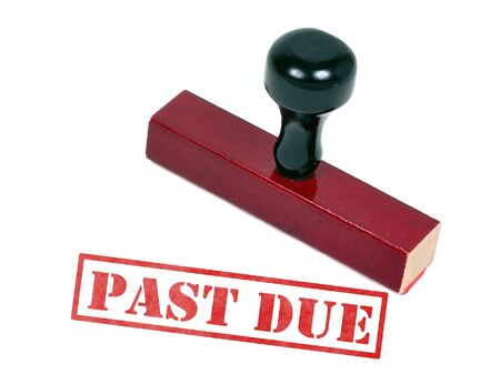 creditor: Rubber stamp with the word words past due
