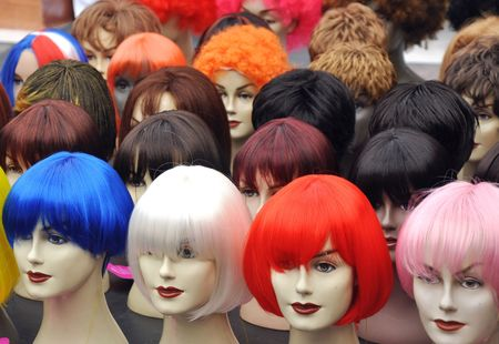 mystique: Wigs on mannequins at a street market on Amsterdam