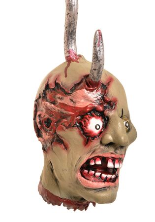 flesh: Bloody deformed head on a hook. Great for Halloween brochures and advertisements  Stock Photo