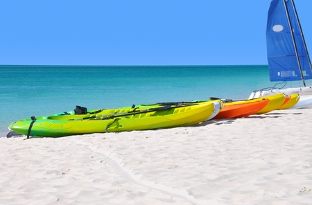 Colorful kayaks on the ocean beach.  新聞圖片