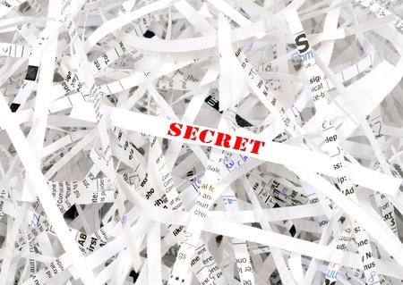 Geheime Text durch Papierschnitzel umgeben. Tolles Konzept für Information Protection Standard-Bild