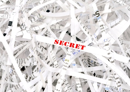 paper sheet: Secret text surrounded by shredded paper. Great concept for information protection