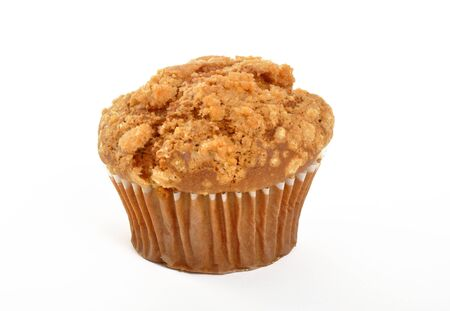 Single muffin on a white background