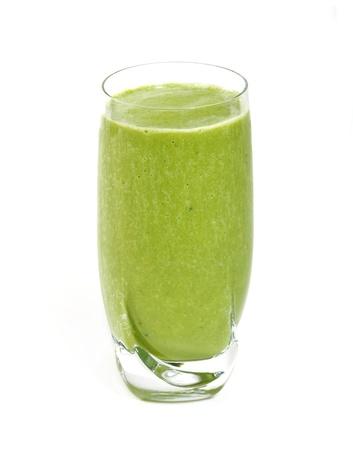 Smoothies: El té verde smoothie aislado sobre fondo blanco Foto de archivo