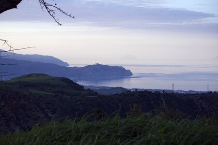 eolian islands: The bay of Tindari and the Eolian Islands taken from Nicoletta  Sicily, Italy  Stock Photo