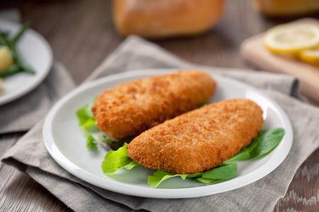 パン粉をまぶし魚の切り身 写真素材