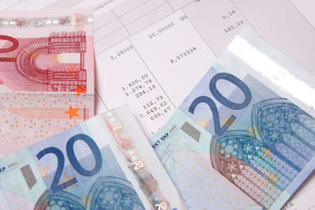 end month: Euro banknotes with payroll at the end of the month
