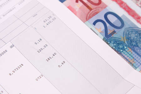 Euro banknotes with payroll at the end of the month photo