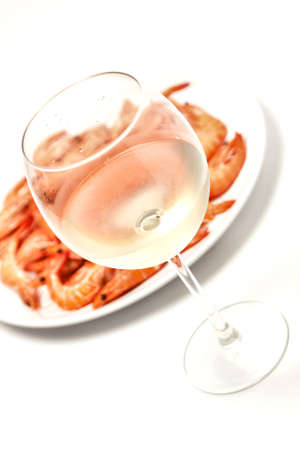 Prawn with a glass of white wine photo