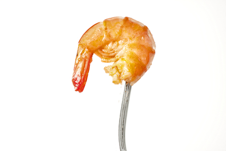 cooked: cooked shrimp on a fork Stock Photo