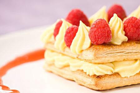 Raspbey Tart with Fresh Cream in Puff Pastry