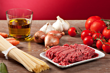 bolognese sauce: Ingredients for the Bolognese sauce Stock Photo
