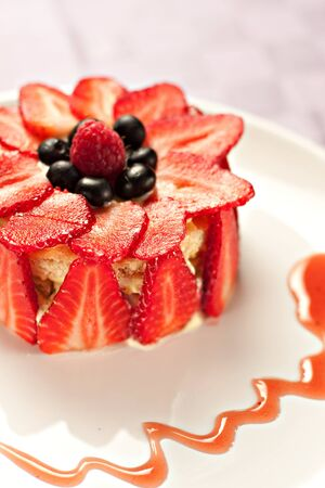 custard slices: Cake with strawberries, blueberries and raspberries Stock Photo