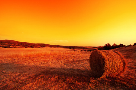podere: Hay Bales in the Tuscan hills at dusk. Stock Photo