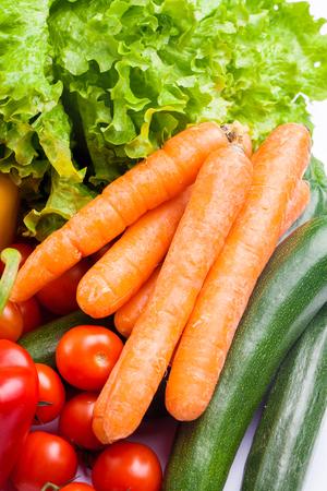 ornage: Fresh vegetables isolated on white