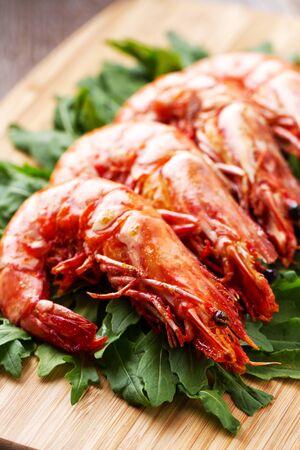 Grilled prawns with rocket salad