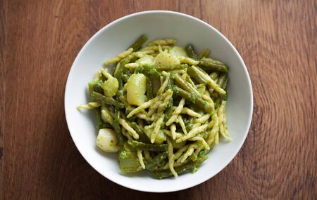 Pasta with pesto sauce 写真素材