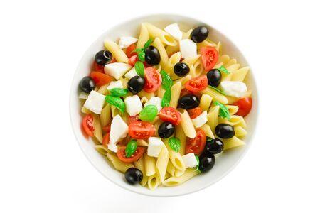 Pasta Salad Isolated on White Archivio Fotografico